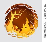 paper art of halloween  vector... | Shutterstock .eps vector #710119216