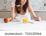 cropped image of a smiling... | Shutterstock . vector #710120566