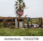 Small photo of House destruction from powerful Hurricane Harvey on the Texas Coast