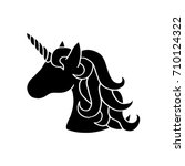 black silhouette of unicorn.... | Shutterstock .eps vector #710124322