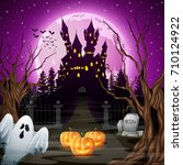 vector illustration of scary... | Shutterstock .eps vector #710124922