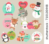set of cute cartoon christmas... | Shutterstock .eps vector #710130448