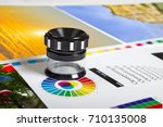 print loupe on offset printed... | Shutterstock . vector #710135008
