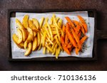 variety of potatoes for garnish ... | Shutterstock . vector #710136136