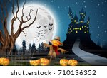 vector illustration of scary... | Shutterstock .eps vector #710136352