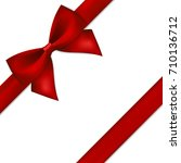 red gift bow and ribbon. | Shutterstock .eps vector #710136712
