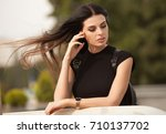 beautiful young girl with... | Shutterstock . vector #710137702