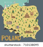 illustration map of poland with ...   Shutterstock .eps vector #710138095