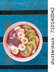 healthy fruit salad with banana ...   Shutterstock . vector #710140042