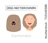 dogs and owners look alike.... | Shutterstock .eps vector #710140588