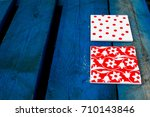 colorful red and white tile... | Shutterstock . vector #710143846