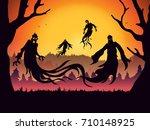 silhouette of evil spirit... | Shutterstock .eps vector #710148925