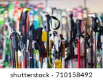new ski sticks on showcase of... | Shutterstock . vector #710158492