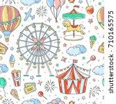 seamless pattern amusement park ... | Shutterstock .eps vector #710165575