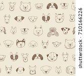 dog face funny cartoon doodle... | Shutterstock .eps vector #710166226
