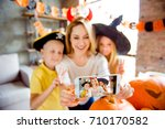 kids say cheers  dressed in... | Shutterstock . vector #710170582