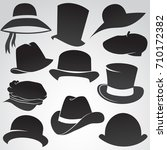hat icon set isolated on white... | Shutterstock .eps vector #710172382