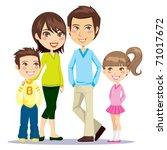 portrait of four member family... | Shutterstock .eps vector #71017672