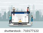 social network web site surfing ... | Shutterstock .eps vector #710177122