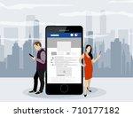 social network web site surfing ... | Shutterstock .eps vector #710177182