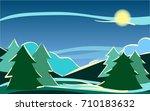 vector daybreak landscape ... | Shutterstock .eps vector #710183632