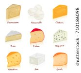 collection of cheeses parmesan  ...   Shutterstock .eps vector #710186098