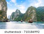 tourist junks floating  between ... | Shutterstock . vector #710186992