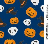 spooky halloween pattern with... | Shutterstock .eps vector #710188612