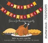 happy friendsgiving invitation...   Shutterstock .eps vector #710192095