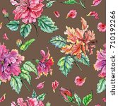 seamless pattern from hibiscus... | Shutterstock . vector #710192266