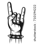heavy metal hand gesture with... | Shutterstock .eps vector #710194222
