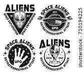 aliens and ufo set of vector... | Shutterstock .eps vector #710194225