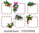 set of christmas frames for... | Shutterstock .eps vector #710194996