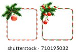 set of christmas frames for... | Shutterstock .eps vector #710195032