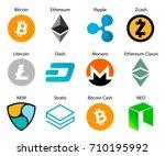 crypto coins logo set  | Shutterstock .eps vector #710195992