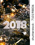 Small photo of A series celebrating New Year's Eve, some with 2018 numerals. Lots of confetti, champagne, etc. Good for background of ads.