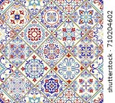 seamless vintage pattern with... | Shutterstock .eps vector #710204602