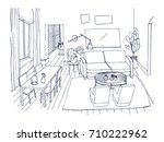 freehand sketch of living room... | Shutterstock .eps vector #710222962