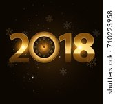 2018 new year golden letters... | Shutterstock .eps vector #710223958