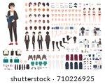 secretary woman creation set or ... | Shutterstock .eps vector #710226925