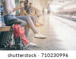young traveler girl searching... | Shutterstock . vector #710230996