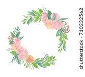 peony flowers blooming wreath... | Shutterstock . vector #710232562