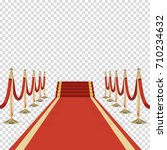 red carpet with stairs  podium  ...