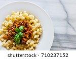 vegetarian vegetable pasta... | Shutterstock . vector #710237152