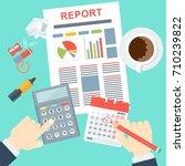 report flat vector concept.... | Shutterstock .eps vector #710239822