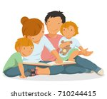 family reading a book  mother ... | Shutterstock .eps vector #710244415