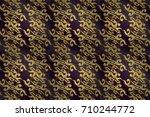 classic raster golden. floral... | Shutterstock . vector #710244772