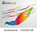 visual drawing sport swimming... | Shutterstock .eps vector #710246728