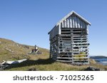 Drying house at Seashore in Iceland - stock photo