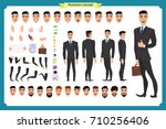 Front, side, back view animated character. Manager character creation set with various views, hairstyles, face emotions, poses and gestures. Cartoon style, flat vector illustration.People character | Shutterstock vector #710256406